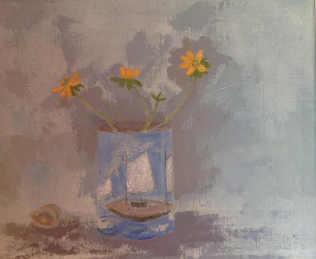 Yellow Flowers and Boat 30x24 cm